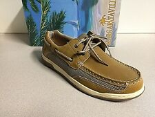 Margaritaville Men's Leather Casual Lighouse Wharf Boat Shoes New Size 12 Tan