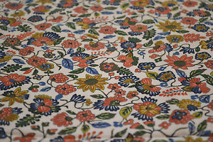 Japanese Silk Fabric Cream with Colourful Flowers Pink Green Blue 1036
