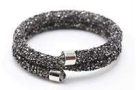 Made with Swarovski Elements Black Crystal Dust Double Wrap Bracelet / Bangle