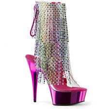 "6"" Pink Rainbow Tassels Stripper Platform Heels Pole Dance Shoes size 6 7 8 9"