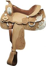 "Double T Show Saddle with Floral and Basket Weave Tooling 16""  Full QH Bars NEW"