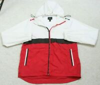 Forever 21 Athletic Jacket Coat Woman's Medium Zip Up Hooded White Black & Red