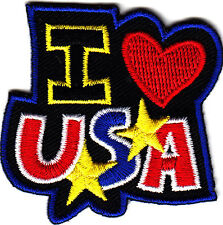 """""""I LOVE (HEART) USA""""//IRON  ON  EMBROIDERED PATCH-PATRIOTIC,PEACE,USA,LOVE"""