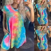 Womens Tie-Dye Dress Dresses Long T Shirt Tee Tops Summer Loose Mini Sundress
