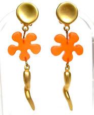 SoHo® Ohrclips Blume gold Kunstharz orange lang vintage retro style