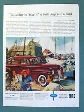 Original  10x14 1941 Ford DeLuxe 4 door Sedan Ad TAKE IT BUILT DEEP INTO FORD