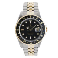 ROLEX GMT MASTER II 16713 MEN'S AUTOMATIC WATCH BLACK DIAL 18K TWO-TONE 40MM