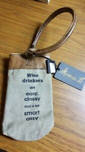 "Mona B ""Wine Drinkers"" Wine Bag Recycled Canvas and Leather FREE SHIPPING"