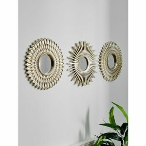 3PCS Sunburst Glass Wall Mirror Gold/ Black / Silver Wall Art Decor Any room