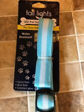 """Tail Lights LED Dog Pet Safety Collar - L/XL Blue 18-23.5"""" Water Resistant"""