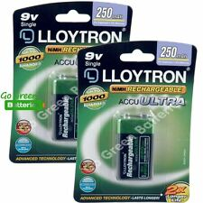 2 x Lloytron 9V PP3 Rechargeable Battery 250 mAh 6LR61