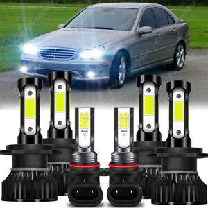 For Mercedes-Benz C230 2002-2007 LED Bulbs Hi/Low Beam Headlight & Fog lights 6X