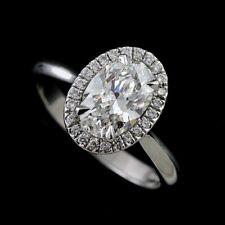 Oval Diamond Halo Modern Platinum 950 Engagement Ring Setting