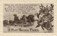 1920'S VINTAGE EMBOSSED HAPPY BIRTHDAY FATHER POEM POSTCARD - USED
