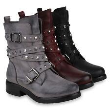 Damen Stiefeletten Biker Boots Warm Gefütterte Stiefel Nieten 820056 Schuhe