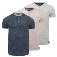 Mens T Shirt Brave Soul Petrak Short Sleeve Grandad Collar Top