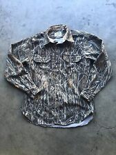 Vintage Cabela's Brush Camo Button Up Hunting Shirt sz Large Made in USA