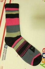 NIKE Socks 1 Pk Pair Pink Grey Black White L Large Mens 8-12 Stripes Crew