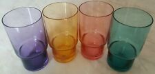 4 DRINKING JUICE TUMBLERS GLASSES MADE IN MEXICO LILAC AMBER PINK AND BLUE