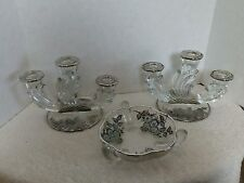 Vintage Silver Overlay Glass Candelabras 2, and Candy Dish