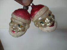 2 Vintage Glass Santa Claus Head Ornaments