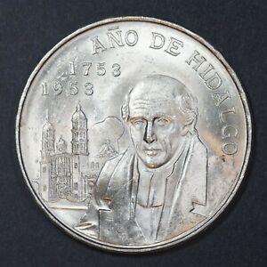 1953 Mexico 5 Pesos silver coin, Hidalgo, Choice UNC, KM# 468