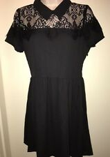 SPEECHLESS Juniors' Illusion Lace Short Sleeve Dress LBD BLACK Size SMALL NWT