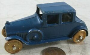 """Vintage 1920's Die Cast 3"""" Tootsie Toy Blue Coupe"""