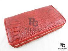 PELGIO Real Genuine Crocodile Skin Leather Zip Around Wristlet Wallet Purse Red
