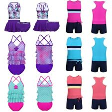 2/3PCS Girls Tankini Swimsuit Swimwear Set Tops+Bottoms Skirt Bathing Suit