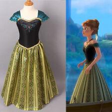 Kid Girls Disney Princess Frozen Queen Anna Elsa Dress Costume Dress Ball Gown