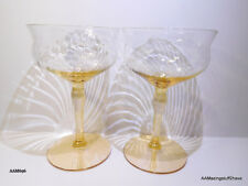 Vtg. Amber / Gold Swirl Glasses 6oz  Sherbet Champaign Set of 2