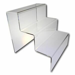 3 Tier Free Standing Acrylic Counter Top Shoe Display - 70mm Step