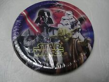 """STAR WARS 8 CT. BIRTHDAY PARTY PAPER DESSERT PLATES 6 3/4"""" PARTY SUPPLIES NEW"""