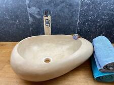 Naturstein Travertin Handwaschbecken Aufsatzwaschbecken Freistehend Elypsenform