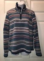 Bit & Bridle Women's 1/4 Zip L/S Fleece Pullover Jacket Blue Stripe Sz S EUC