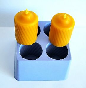 silicone VOTIVE Candle Mold 4 cavities round fluted easy release homemade