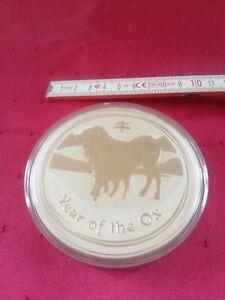 Lunar Ochse 10 oz / 10 Unzen Silbermünze 2009 AG 999 unc 10 Dollar