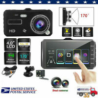 """4"""" 1080P Dual Lens Car DVR Dash Touch Screen Cam Recorder Front and Rear Camera"""