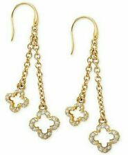 Marie Claire 18k Gold-Plated Crystal Chain Clover Drop Earrings