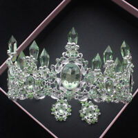 7cm High Green Crystal Wedding Party Pageant Prom Tiara Crown Earrings Set