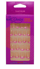 TANTRUM NAIL CANDY 24 PRESS ON NAILS KIDS CHILDREN PINK TIPS WITH WHITE FLOWER