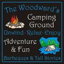 Personalised camping pitch sign plaque 200mm x 200mm rigid 3mm CAMPER CARAVAN