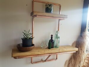 Handmade Rustic Wood,Copper Pipe Wall Unit with 2 Shelves. Wax Finish.