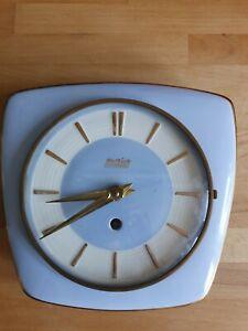 Hettich 50er, 60er Küchenuhr Schwebegang, Handaufzug Porzellan Modell H 301, 22x