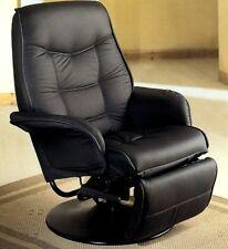 Berri Black Leather Like Vinyl Swivel Chaise Recliner by Coaster 7501