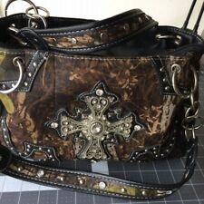 """Celtic Cross CONCEALED WEAPON PURSE/HAND BAG 8"""" DEEP CAMOUFLAGE Bling"""