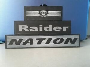 Oakland Raiders 3PC free standing wood stackable signs football nfl father