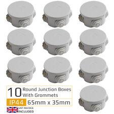 10 x Round Electric IP44 Junction Box & Grommets Outdoor Waterproof 65mm x 35mm