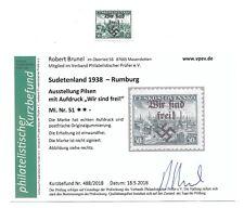 WWII 1938 Certified Sudetenland/Rumburg Overprint Stamp MNH